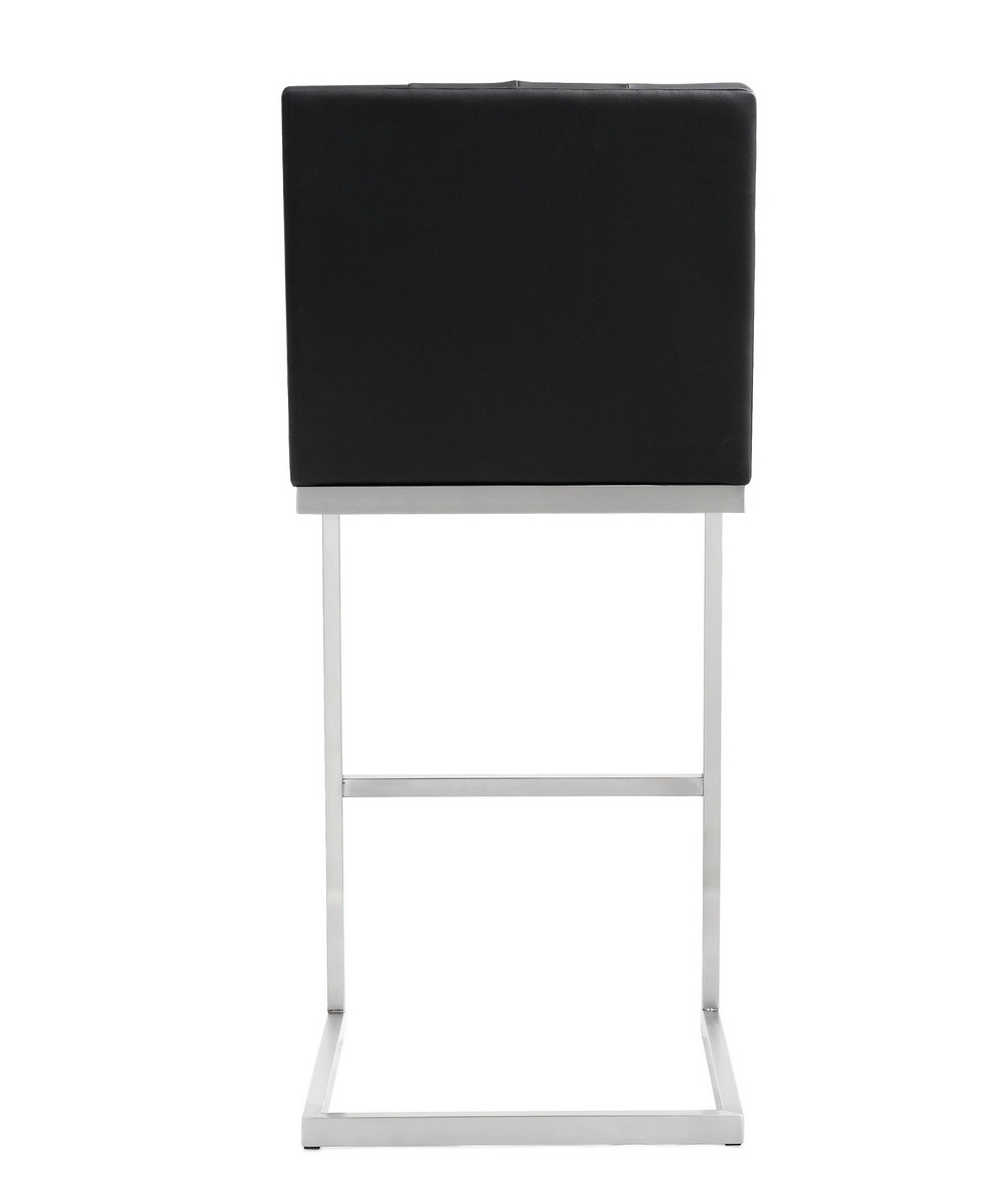 TOV Furniture Helsinki Black Stainless Steel Barstool (Set of 2)