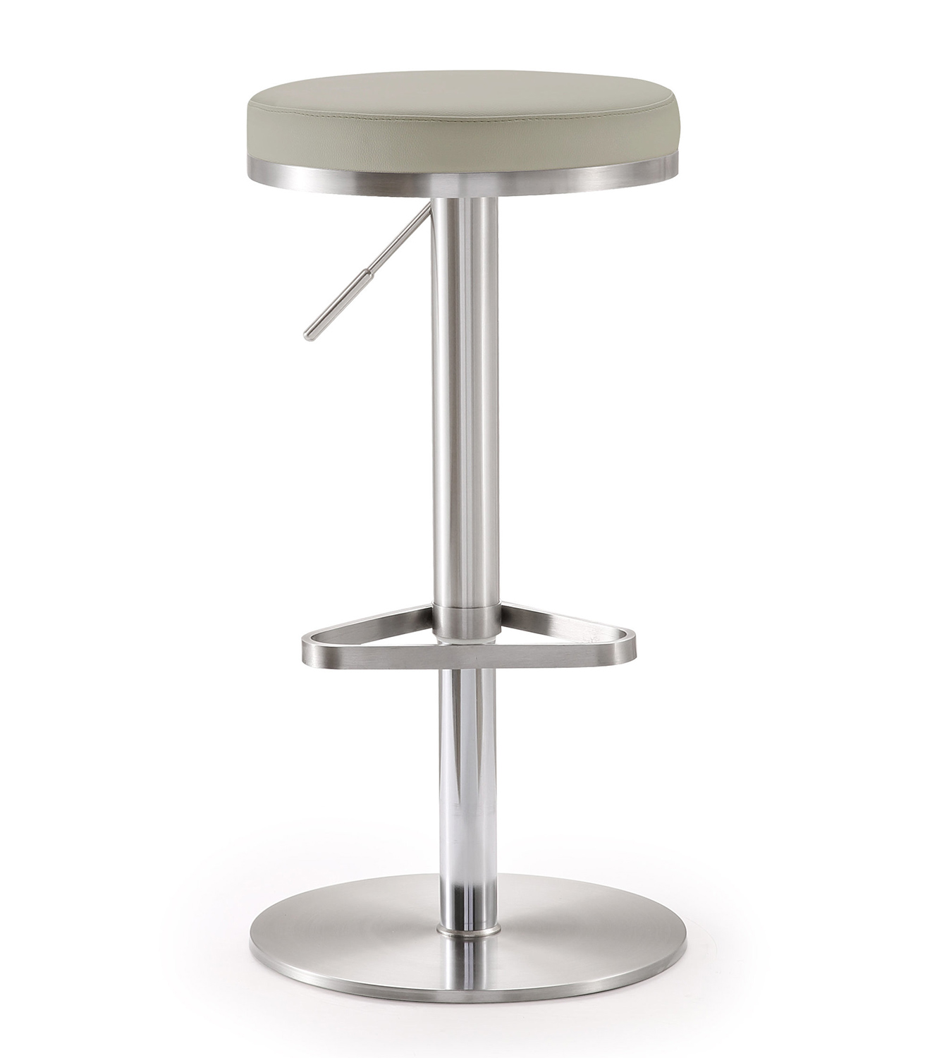 TOV Furniture Fano Steel Adjustable Barstool - Light Grey