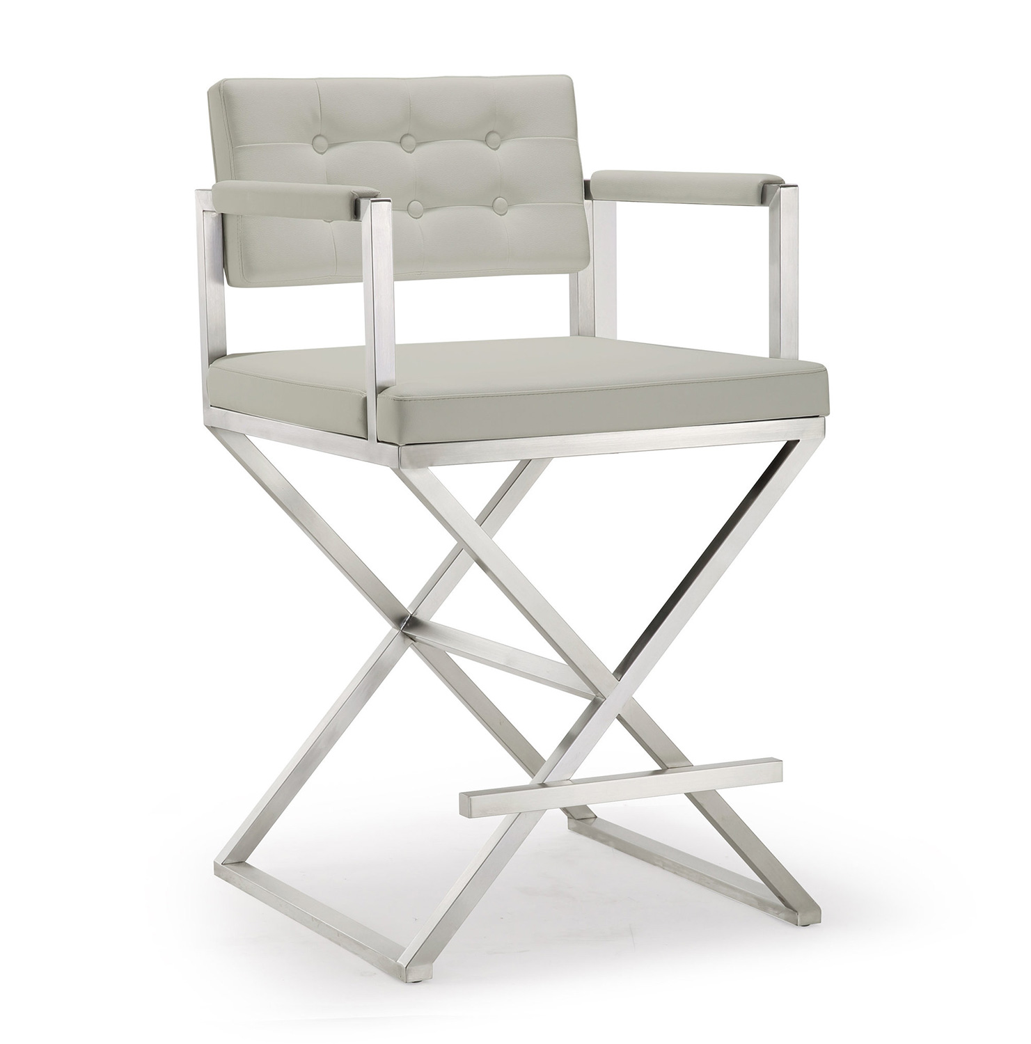 TOV Furniture Director Steel Counter Stool - Light Grey