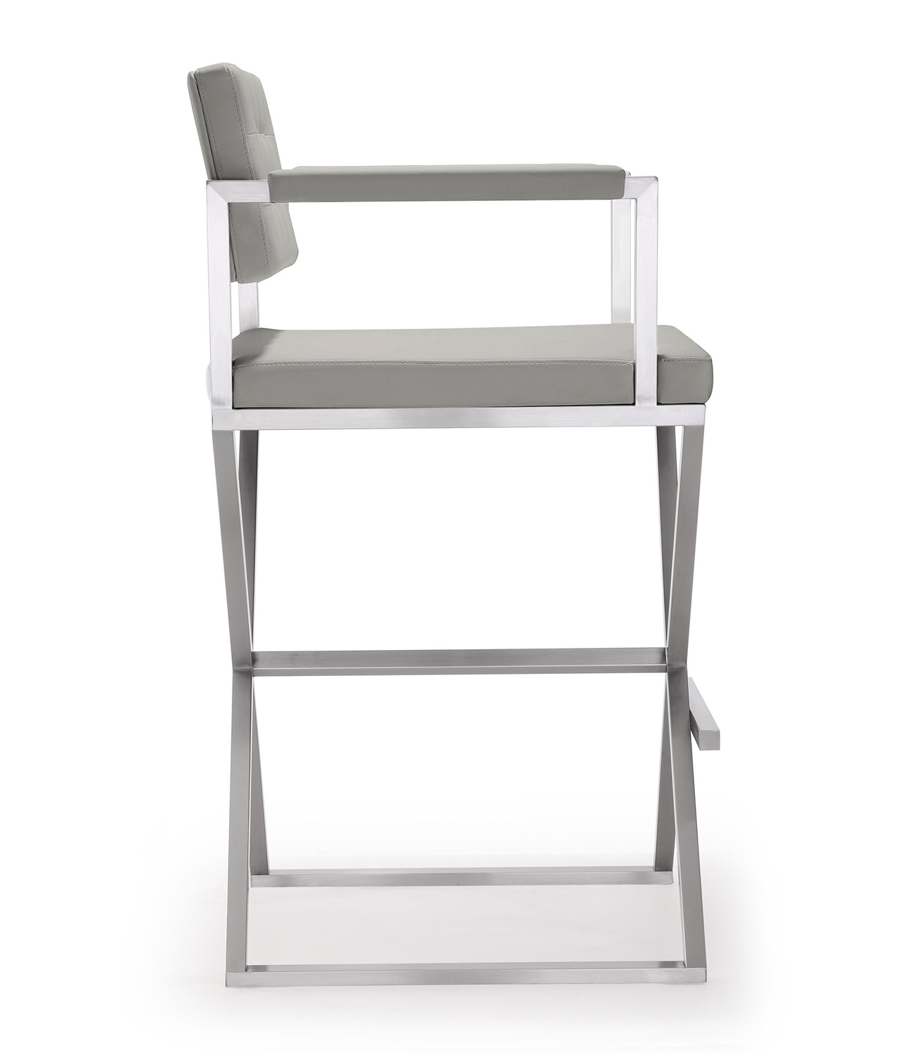 TOV Furniture Director Steel Barstool - Light Grey