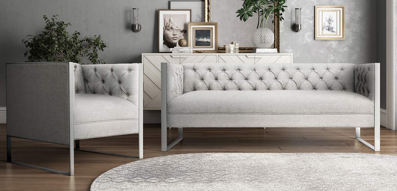 TOV Furniture Farah Living Room Set Grey L4900 L4901 At