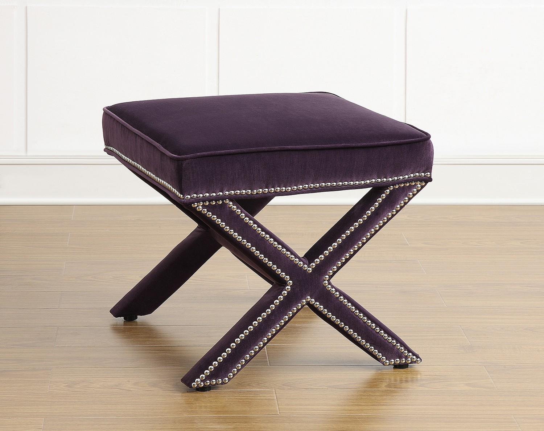 TOV Furniture Reese Purple Velvet Ottoman