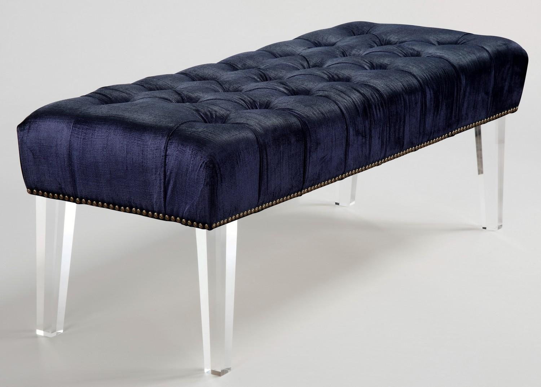 TOV Furniture Stella Navy Velvet Lucite Bench O21 At