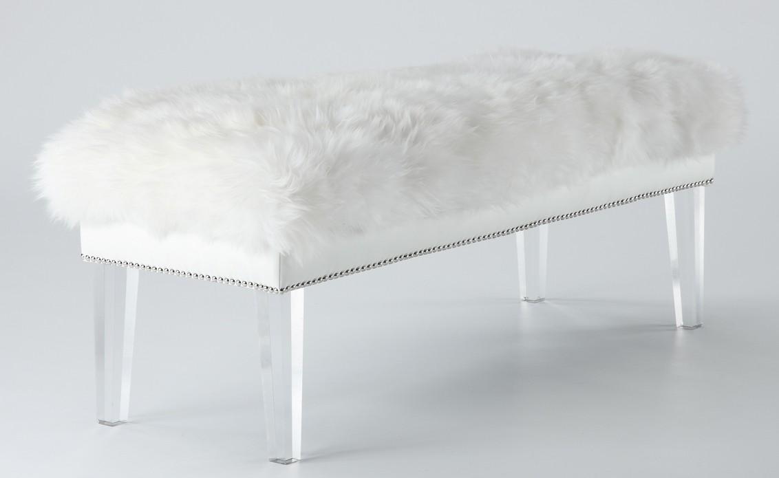 TOV Furniture Luxe White Sheepskin Lucite Bench
