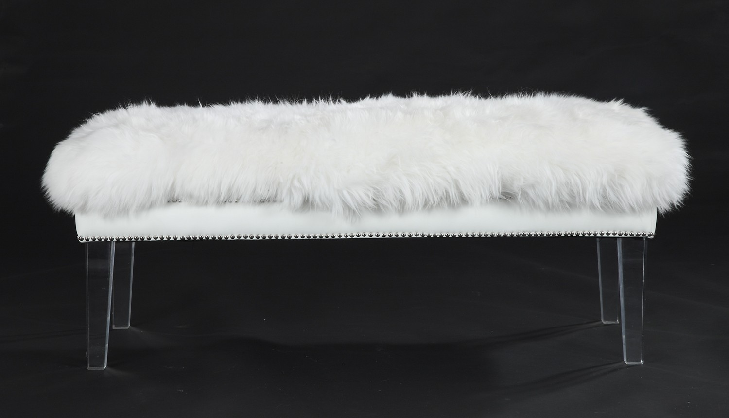 Tov Furniture Luxe White Sheepskin Lucite Bench O22 At