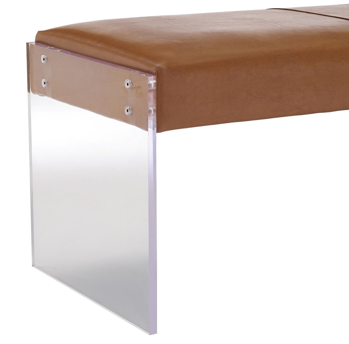 TOV Furniture Envy Leather/Acrylic Bench