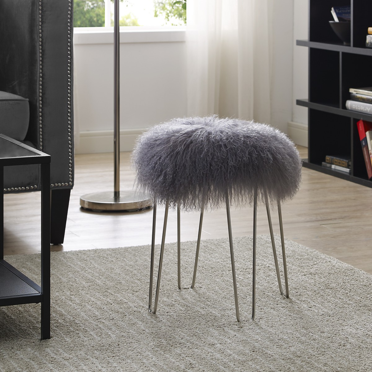 TOV Furniture Zelda Grey Sheepskin Bench