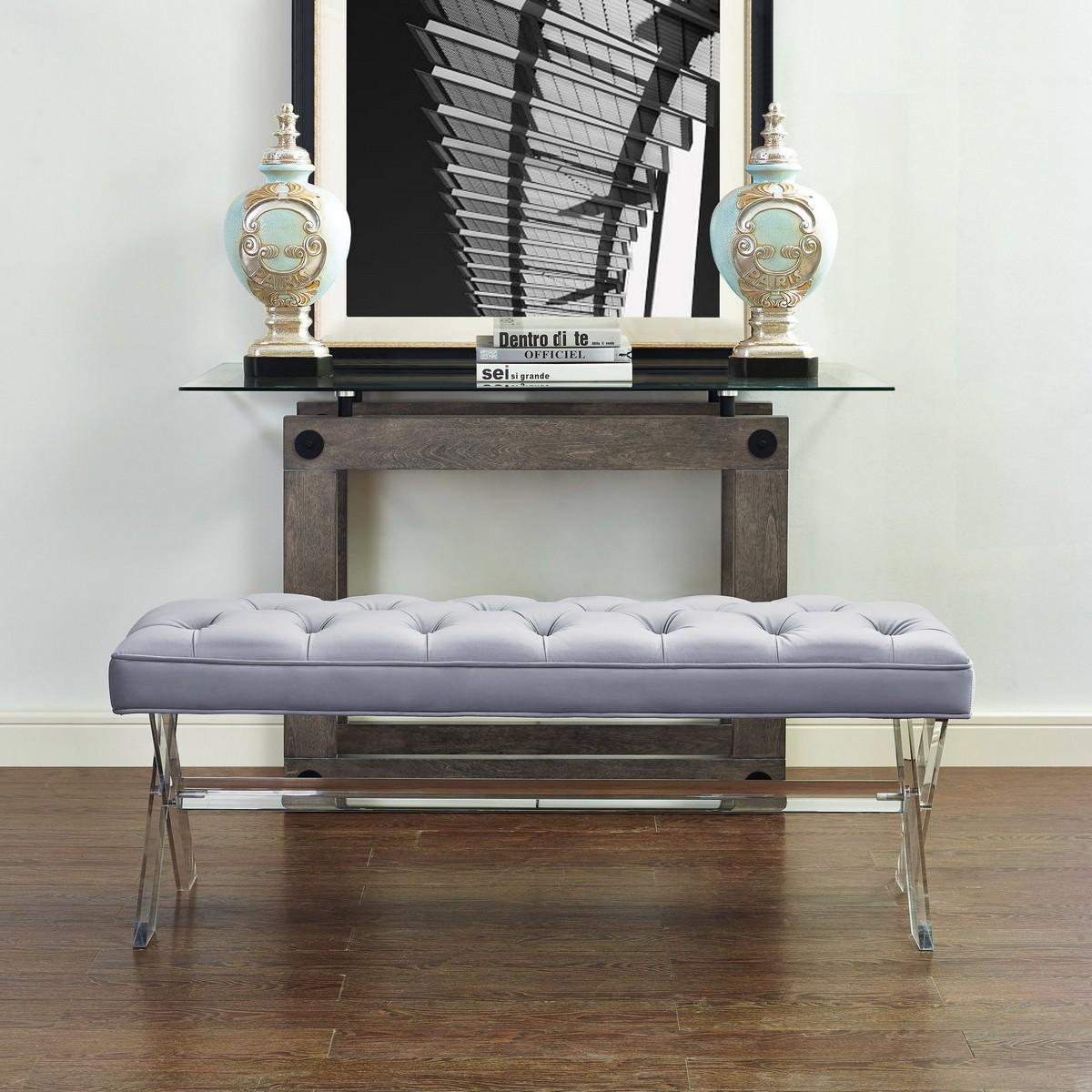 TOV Furniture Claira Grey Lucite Bench