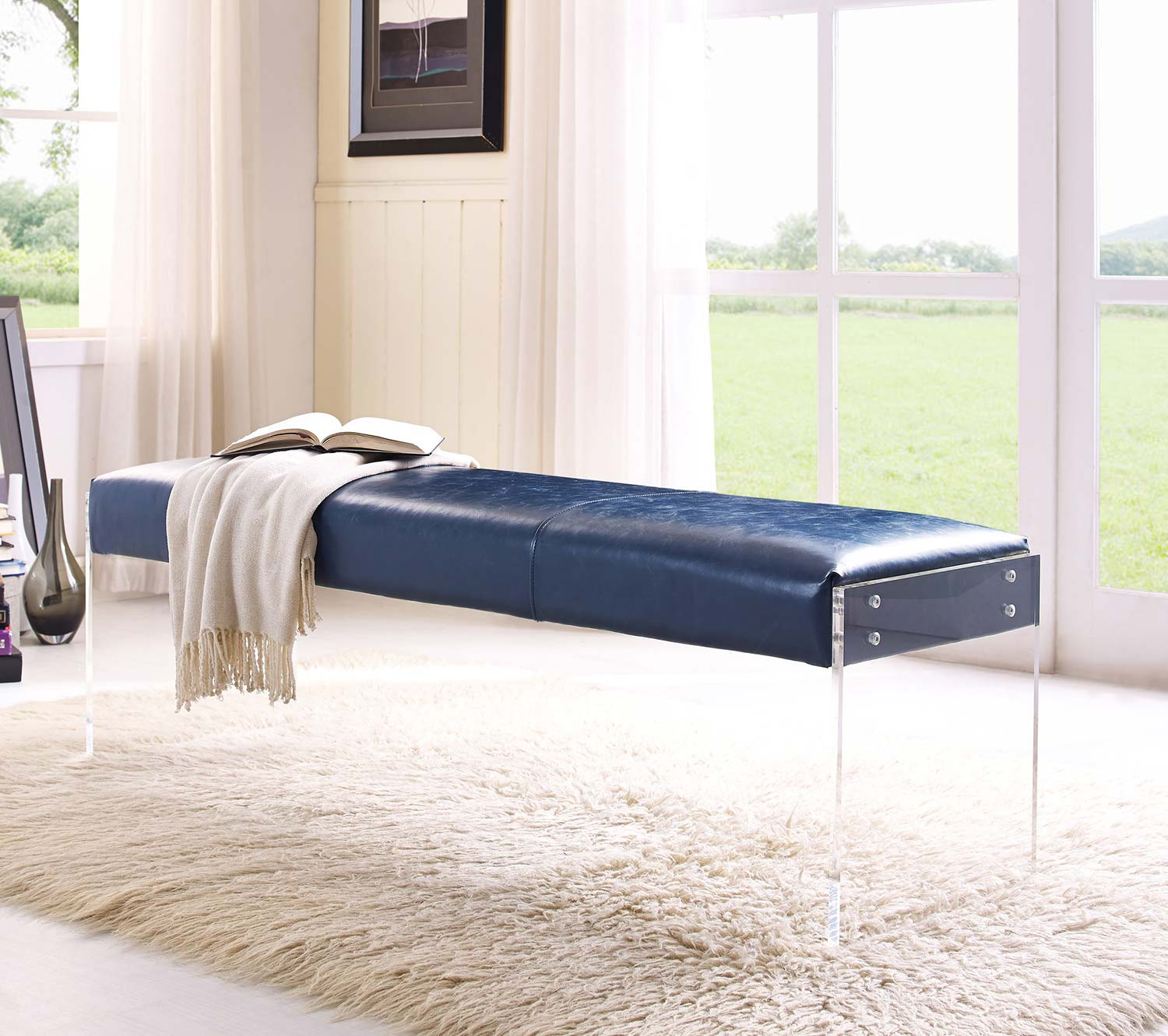 TOV Furniture Envy Leather/Acrylic Bench - Blue