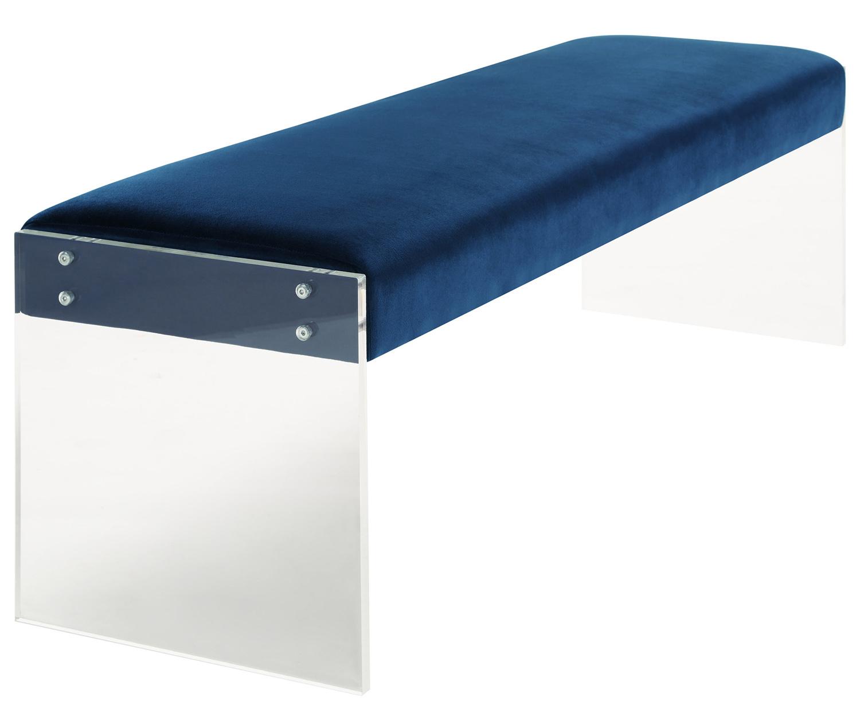 TOV Furniture Envy Velvet/Acrylic Bench - Blue