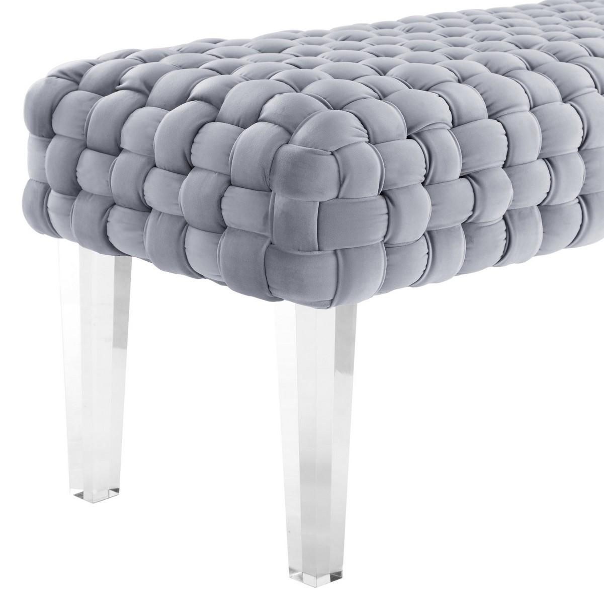 TOV Furniture Sal Woven Grey Velvet Bench