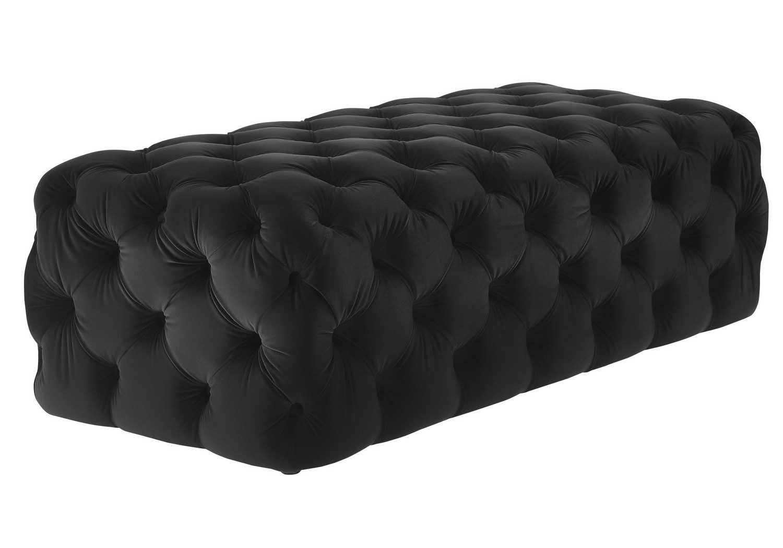 TOV Furniture Kaylee Jumbo Black Velvet Ottoman