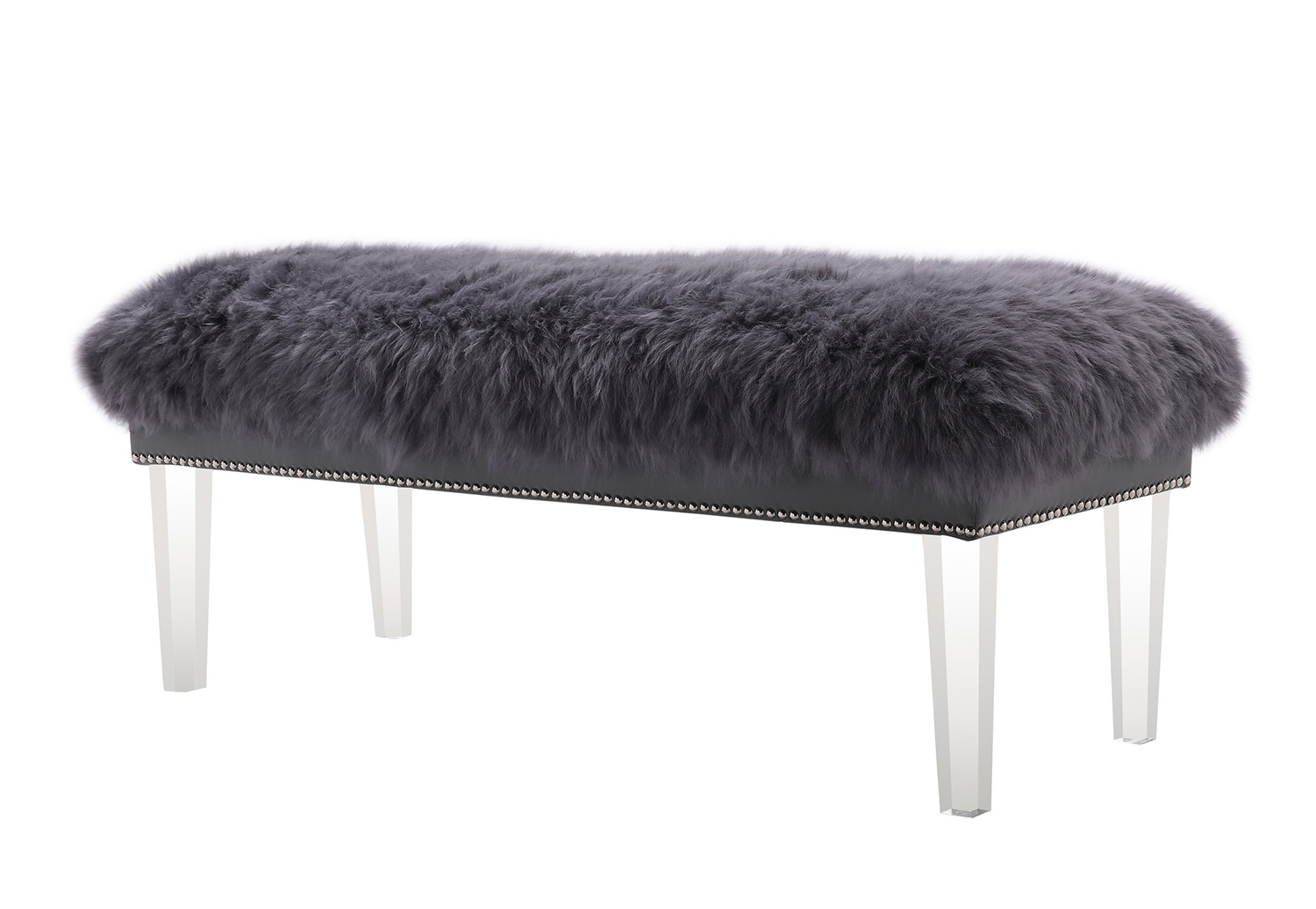 TOV Furniture Luxe Sheepskin Lucite Bench - Grey