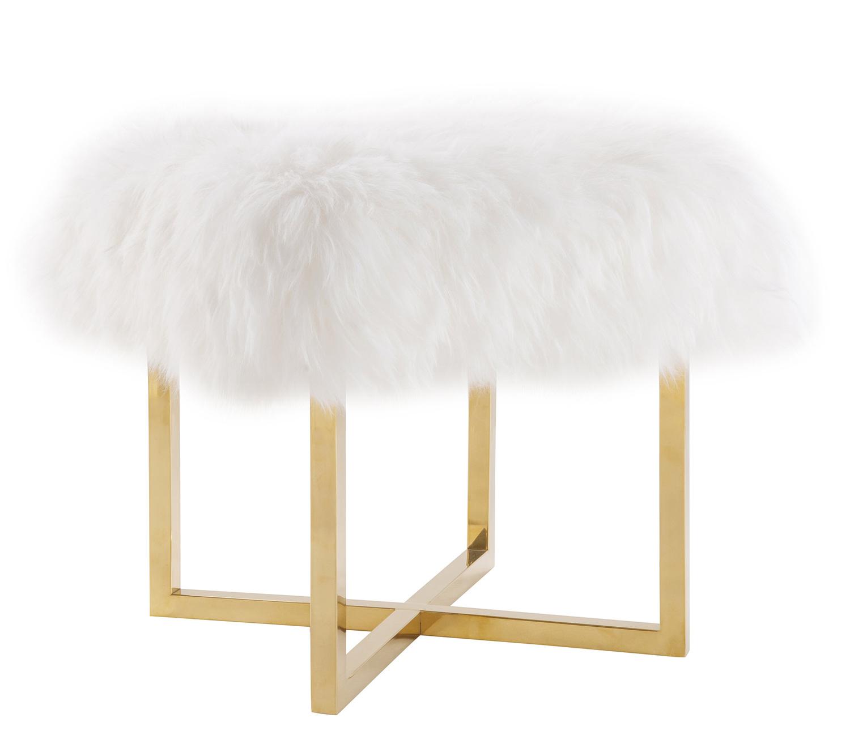 TOV Furniture Nomo Sheepskin Bench - White/Gold