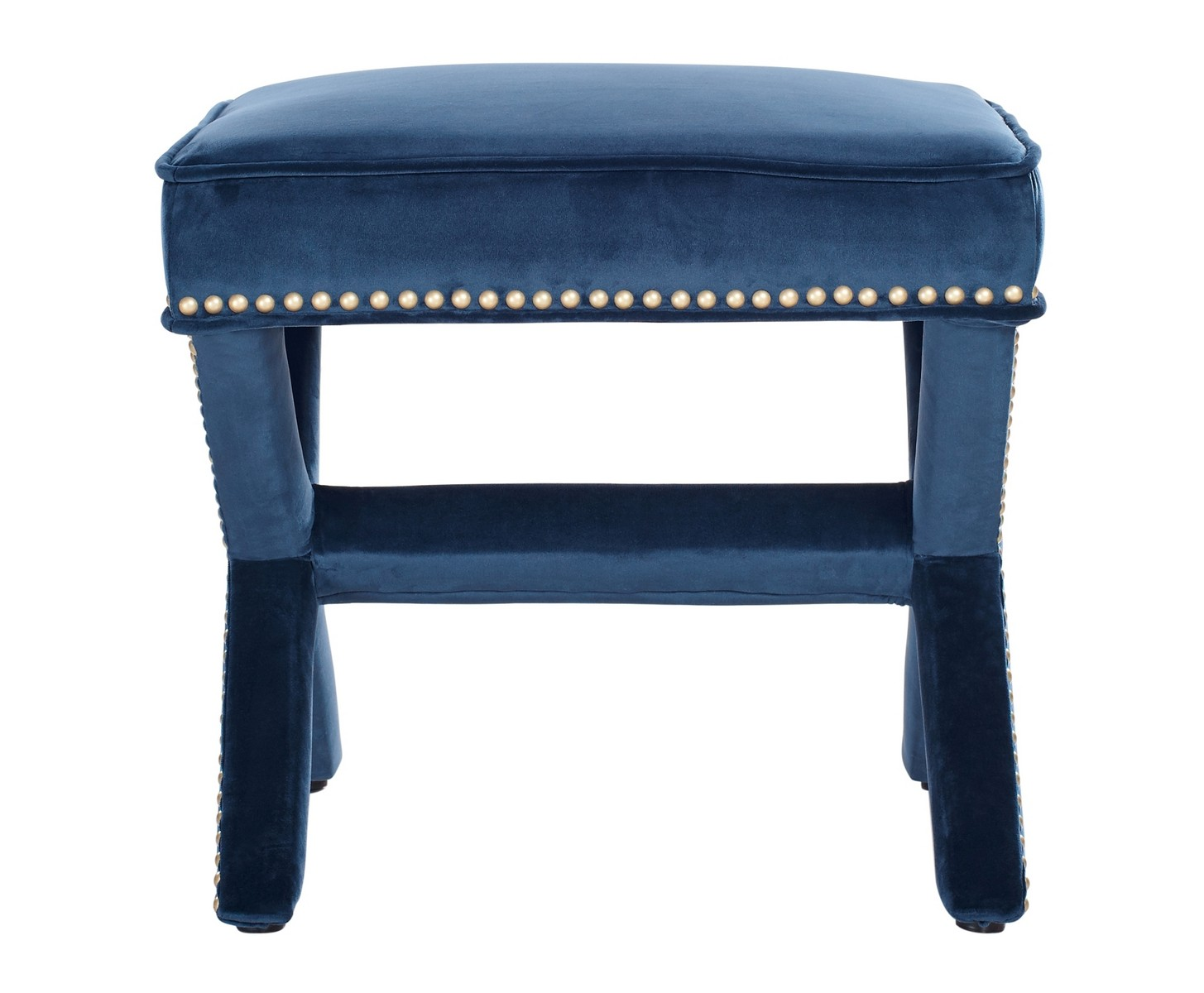 TOV Furniture Reese Navy Velvet Ottoman