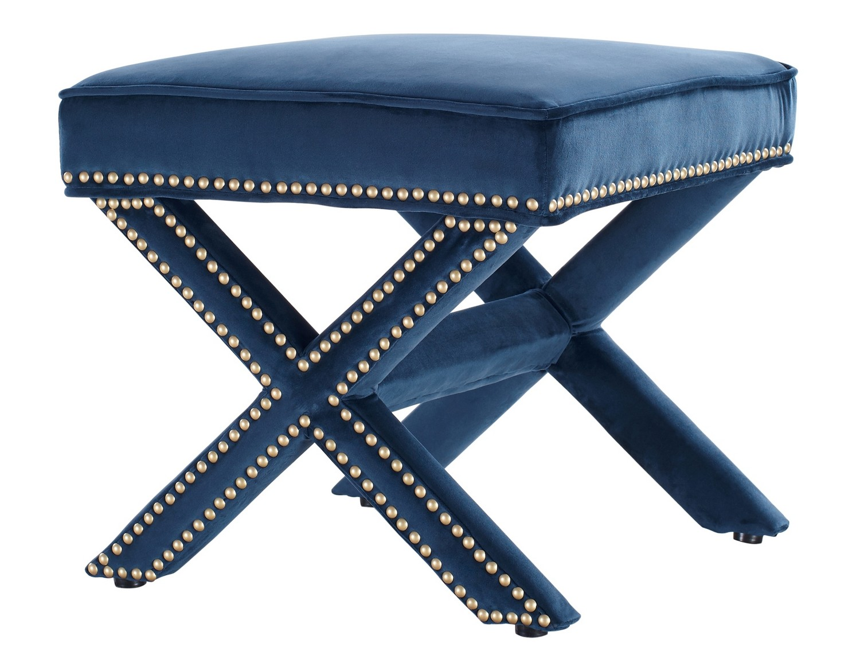 TOV Furniture Reese Navy Velvet Ottoman