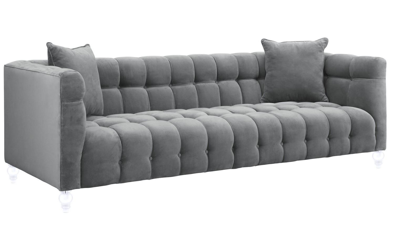 TOV Furniture Bea Grey Velvet Sofa S100 at Homelement