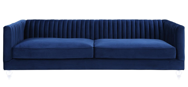 Nice TOV Furniture Aviator Navy Velvet Sofa