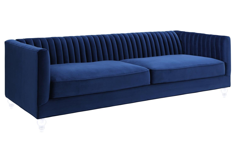 TOV Furniture Aviator Navy Velvet Sofa