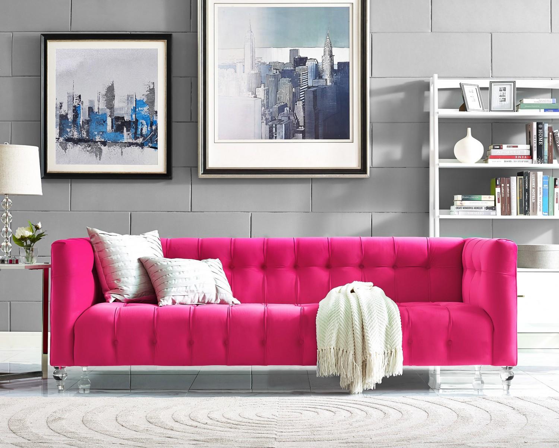 tov furniture bea pink velvet sofa - Pink Velvet Sofa