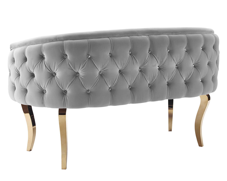 TOV Furniture Adina Loveseat with Gold Legs - Grey