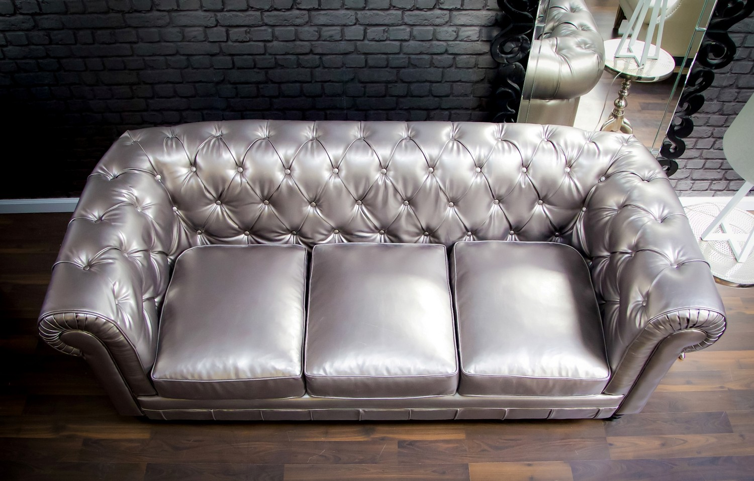 TOV Furniture Zahara Silver Leather Sofa
