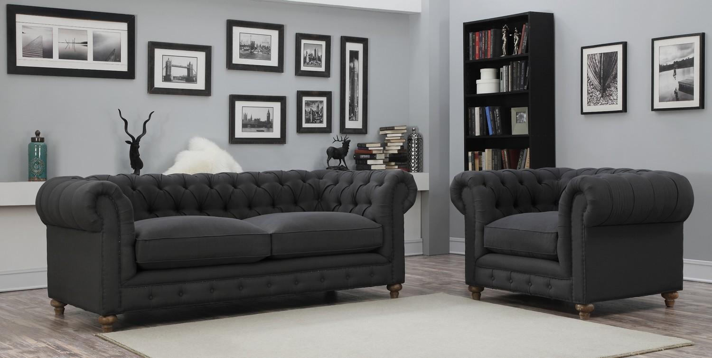 TOV Furniture Oxford Grey Linen Sofa