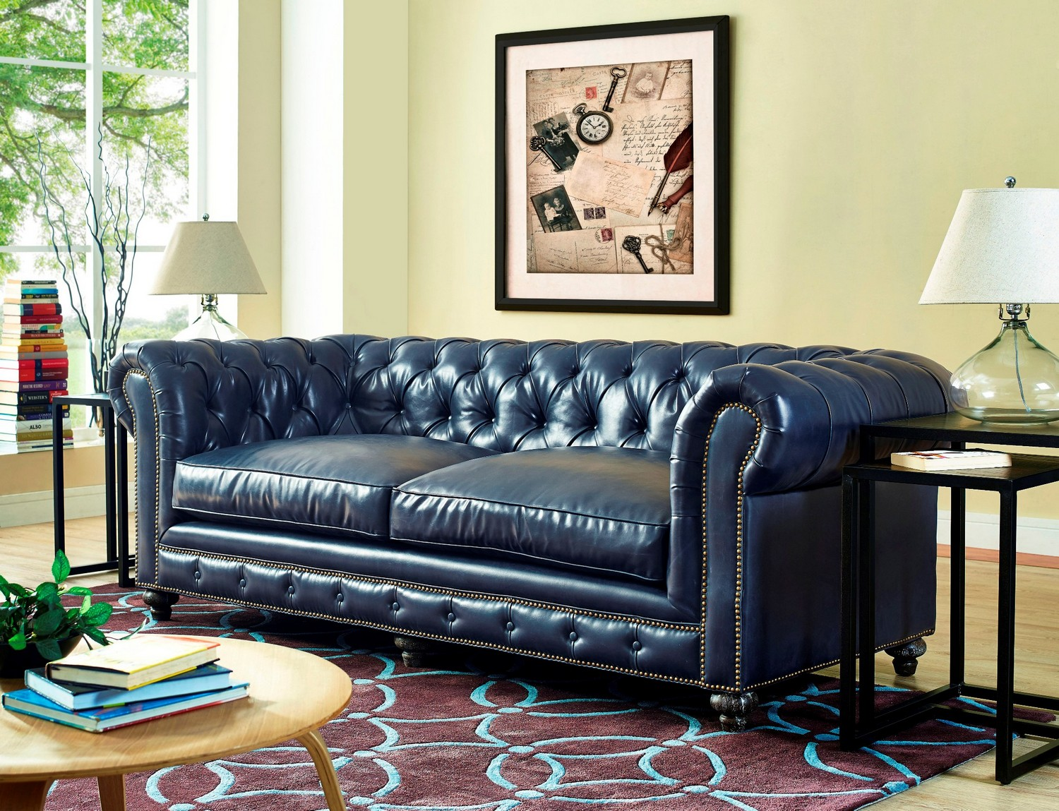 Attirant TOV Furniture Durango Rustic Blue Leather Sofa