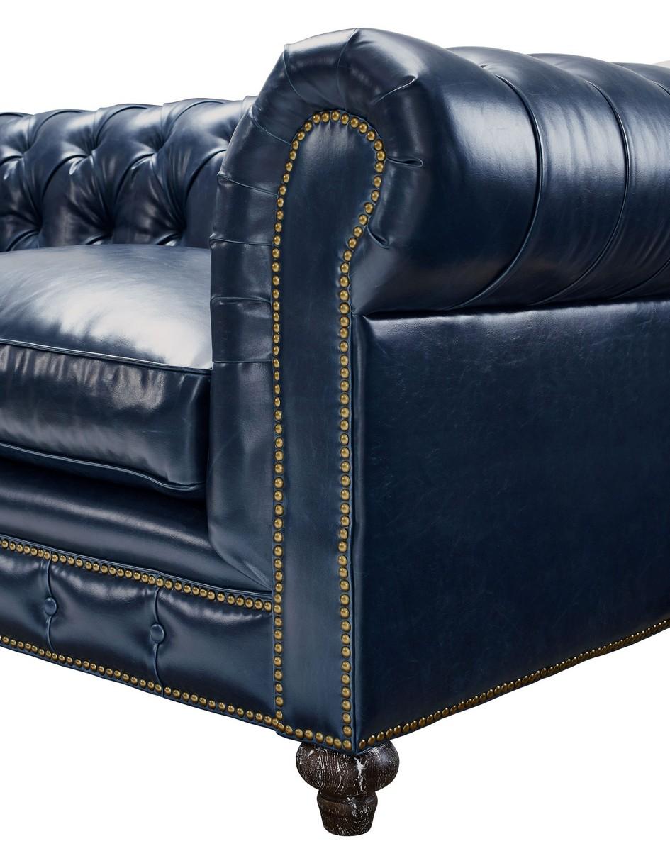 tov furniture durango rustic blue leather sofa
