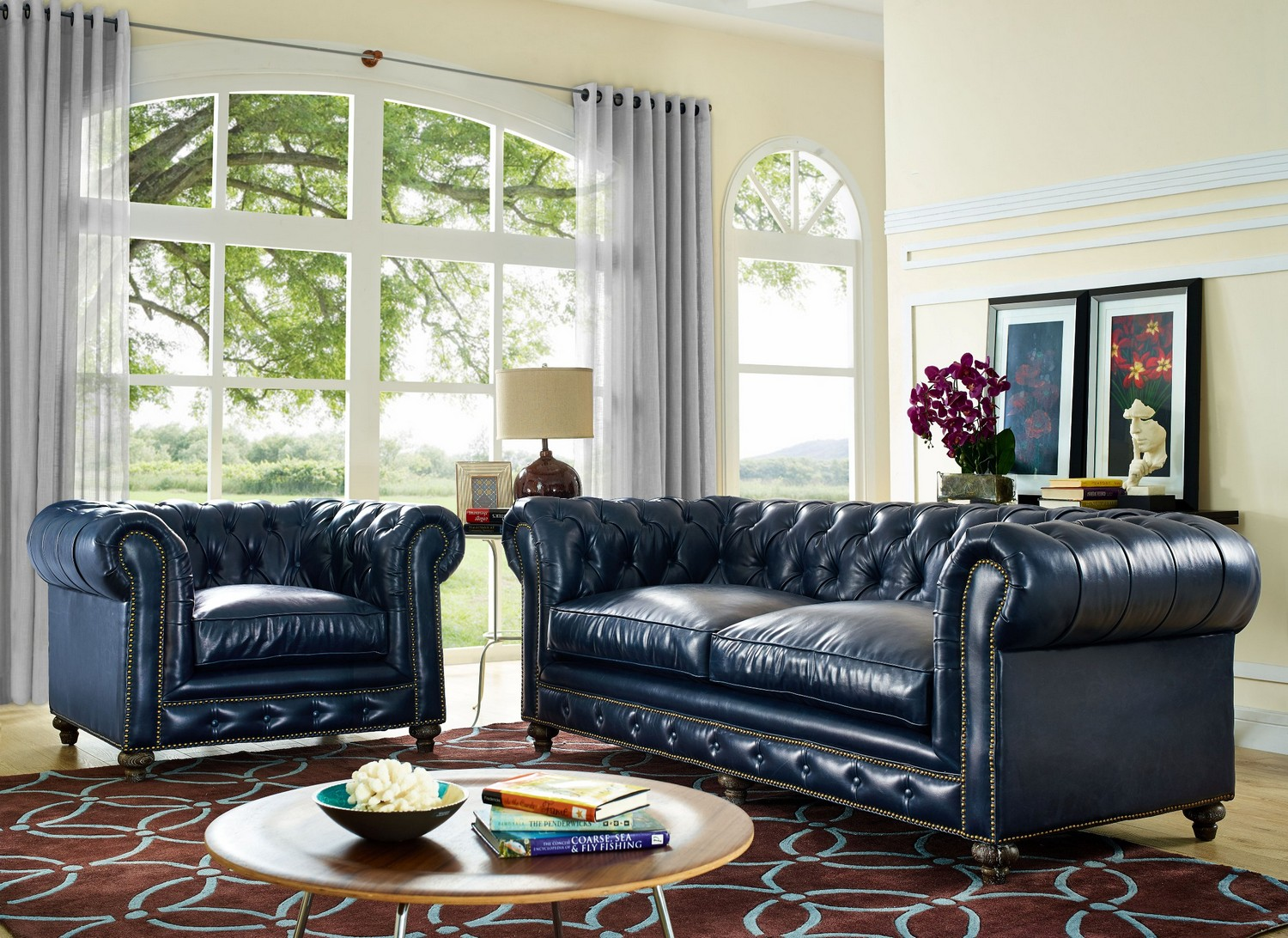TOV Furniture Durango Rustic Blue Leather Living Room Set S38 C45 At