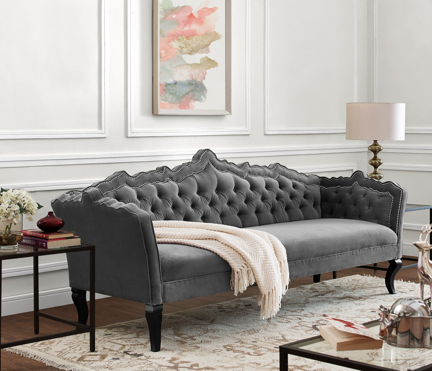 Tov Furniture Brooks Grey Velvet Sofa