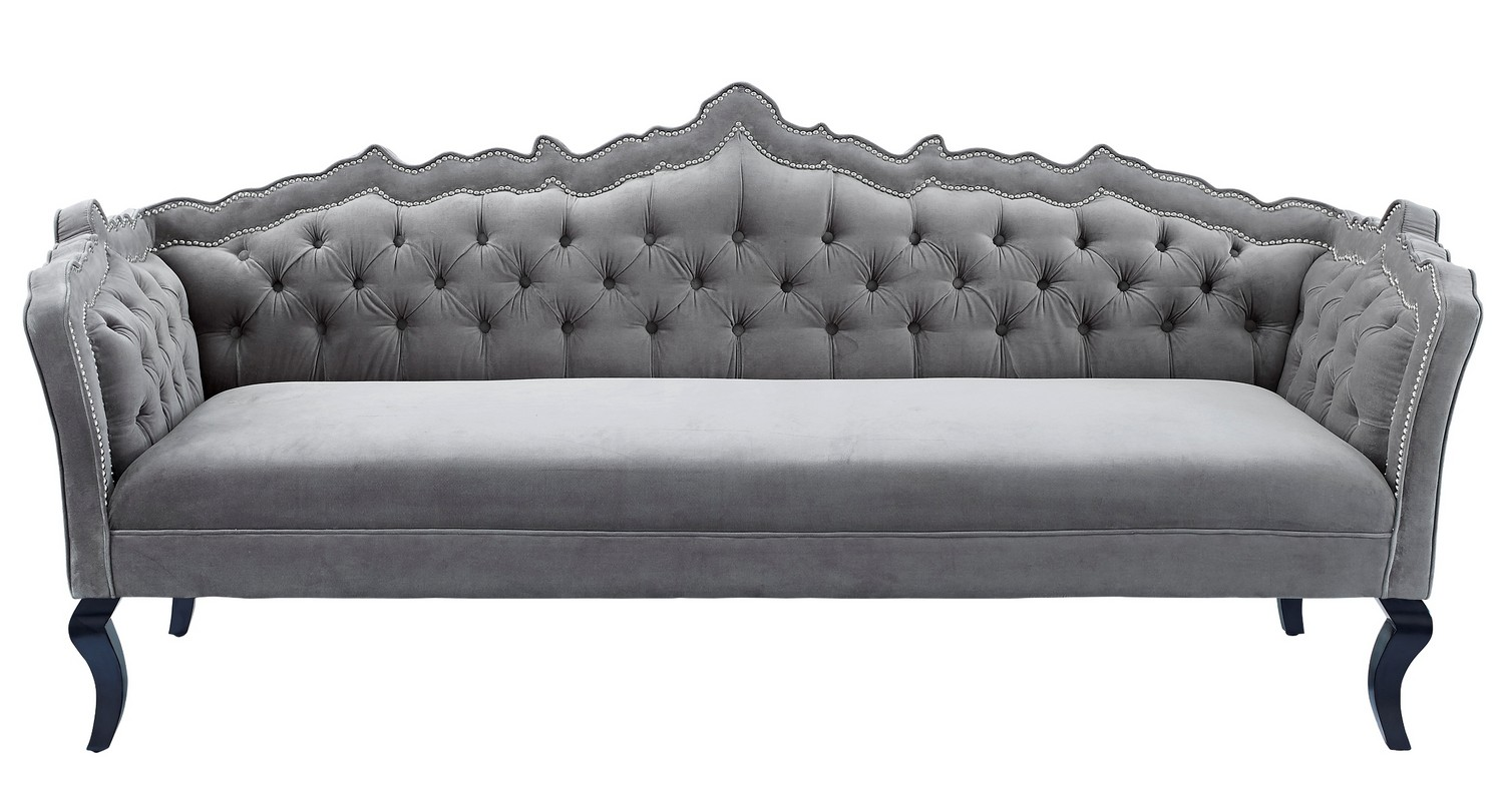 TOV Furniture Brooks Grey Velvet Sofa S44 at Homelement