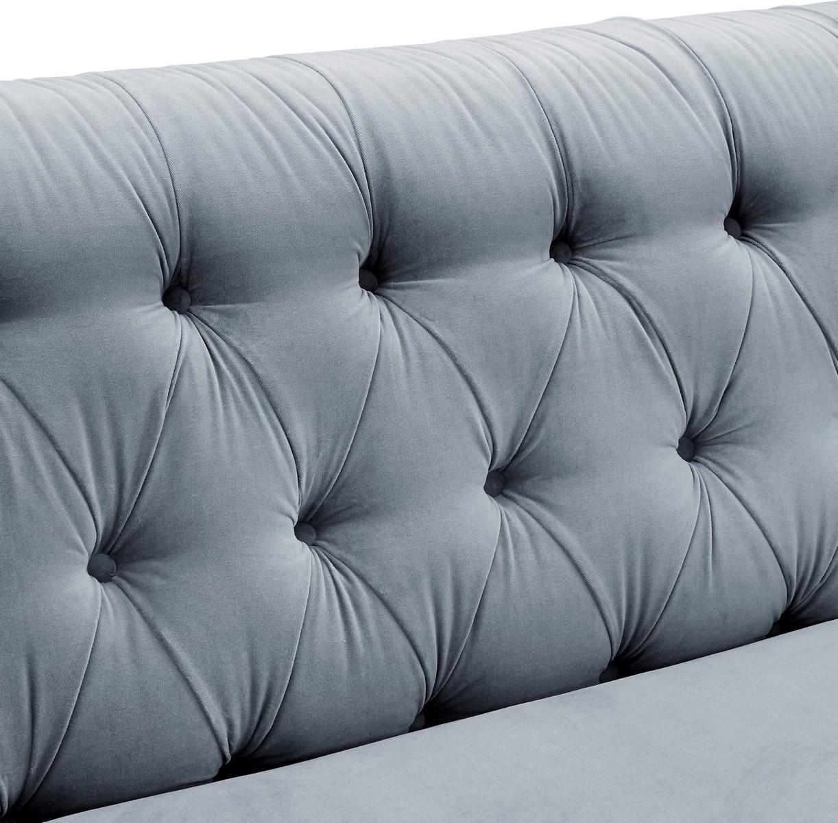 TOV Furniture Hanny Grey Velvet Sofa
