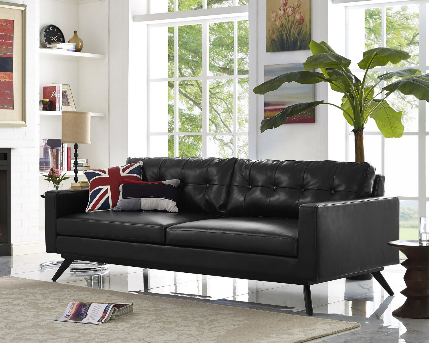 TOV Furniture Blake Antique Black Sofa