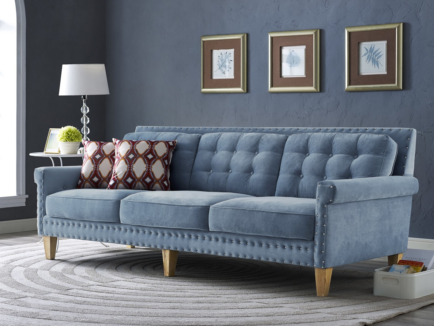 Tov Furniture Jonathan Blue Velvet Sofa S75 At Homelement Com