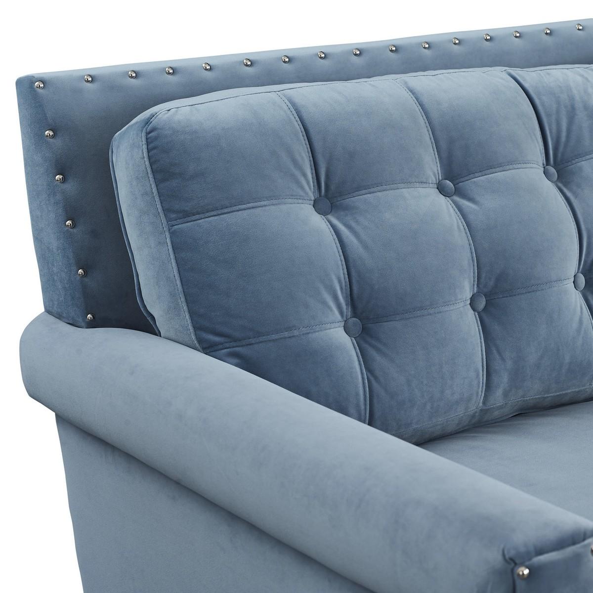 TOV Furniture Jonathan Blue Velvet Sofa