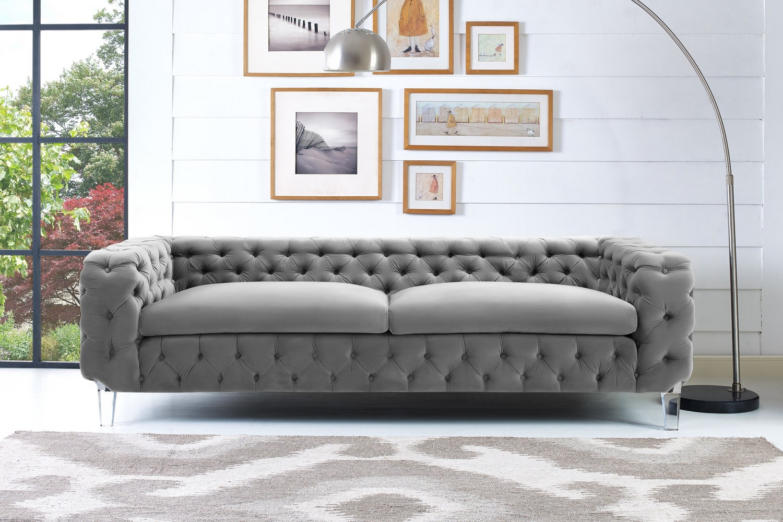 TOV Furniture Celine Grey Velvet Sofa