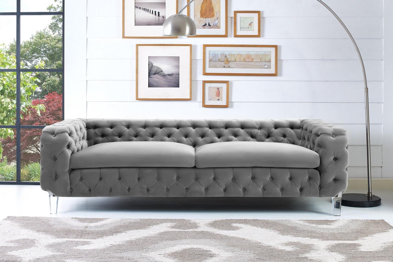Tov furniture celine grey velvet sofa s76 at homelement com