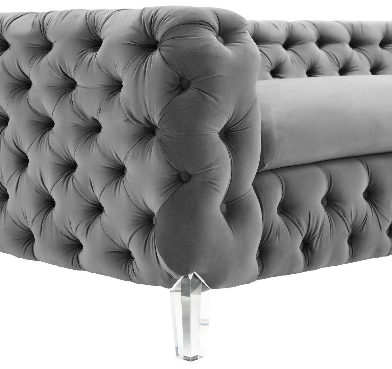 tov furniture celine grey velvet sofa - Tov Furniture
