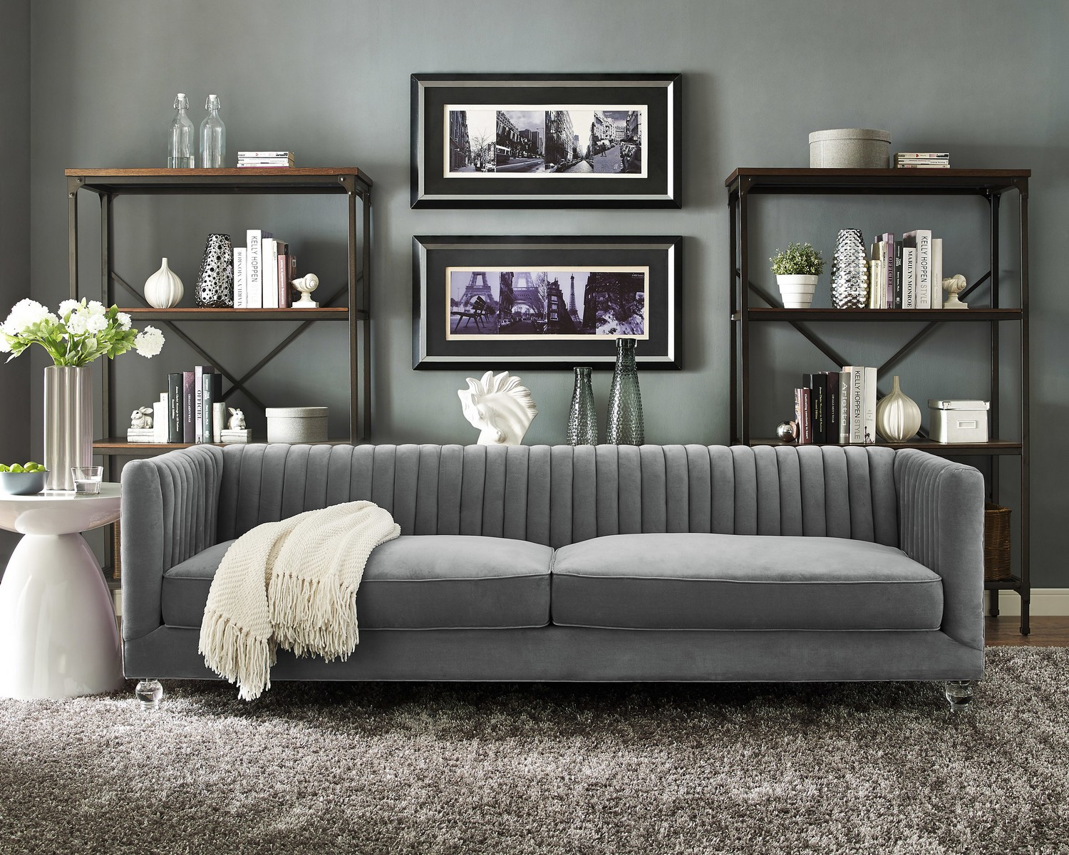 TOV Furniture Aviator Grey Velvet Sofa