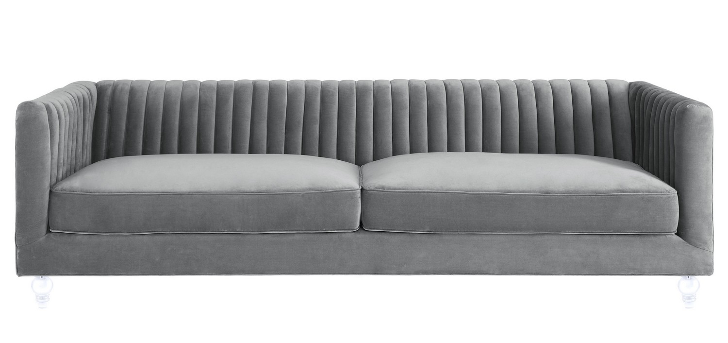 TOV Furniture Aviator Grey Velvet Sofa S86 at Homelement