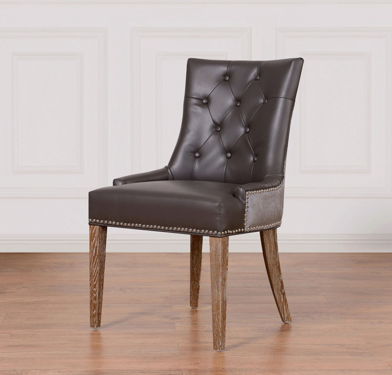 TOV Furniture Uptown Grey Leather/Velvet Dining Chair