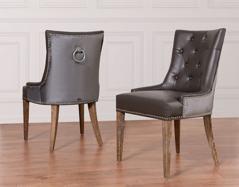 TOV Furniture Uptown Grey LeatherVelvet Dining Chair UPT
