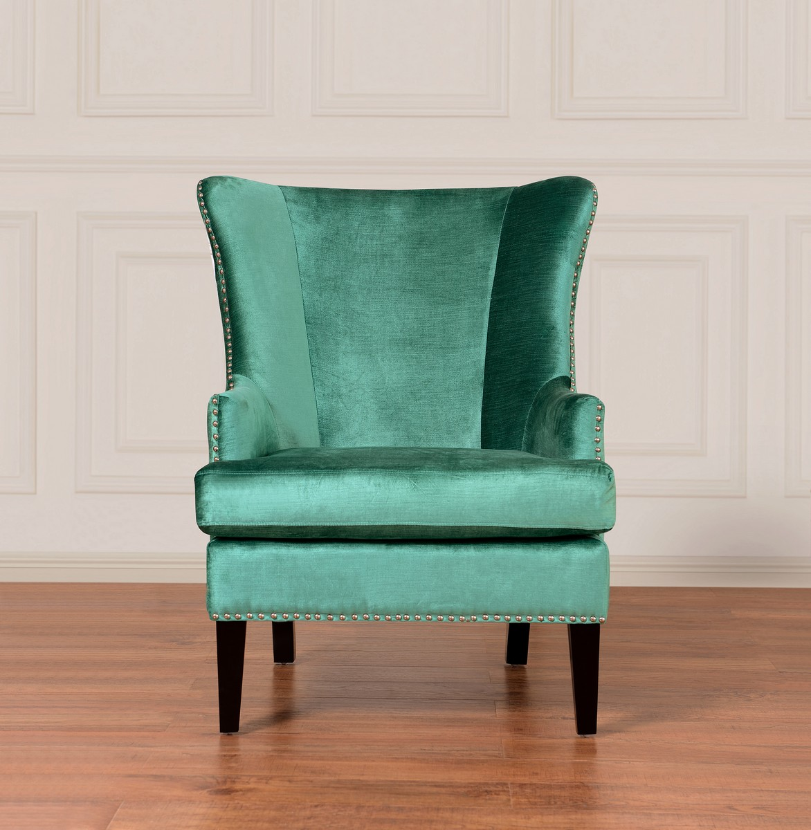 TOV Furniture Soho Turquoise Velvet Wing Chair