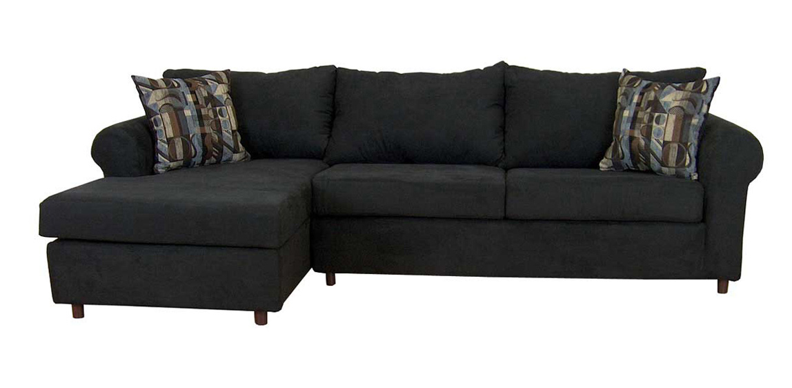 Triad upholstery 300 series bulldozer black sectional sofa for Sectional sofa 300