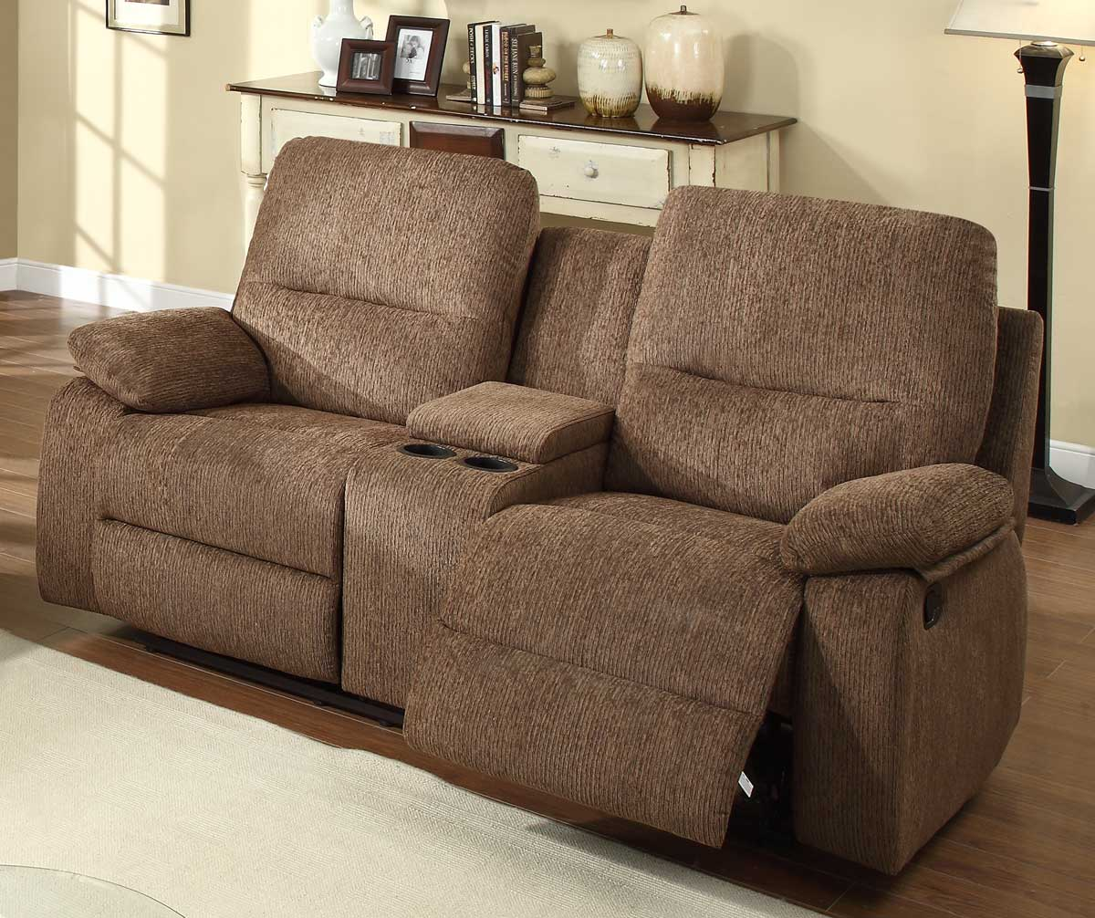 Homelegance Marianna Double Reclining Love Seat With Center Console Dark Brown Chenille 9716db