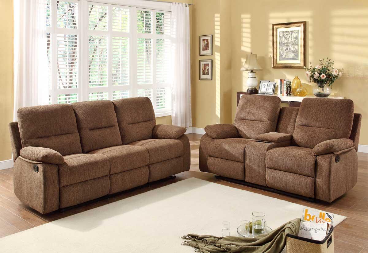 Homelegance Marianna Reclining Sofa Set Dark Brown Chenille