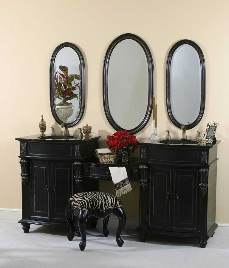 Ultimate Accents Black Double Pier Vanity with Stool