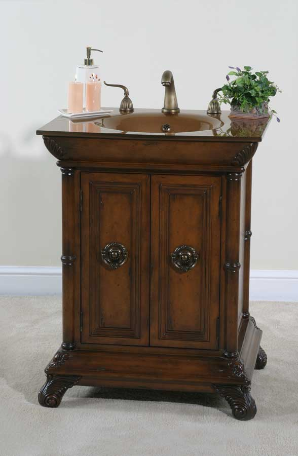 Cheap Ultimate Accents 27in Walnut Vanity
