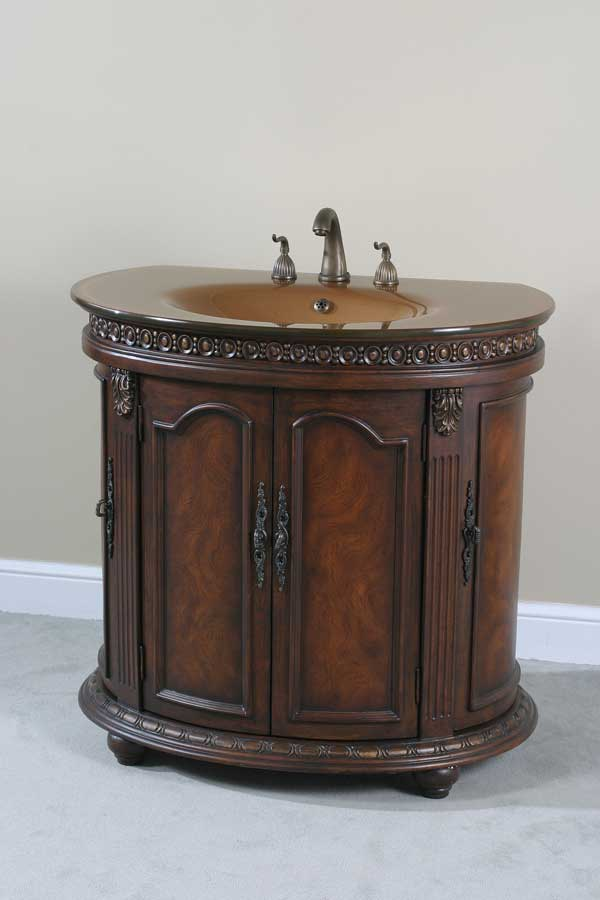Ultimate Accents Half Round Walnut Glass Top Vanity